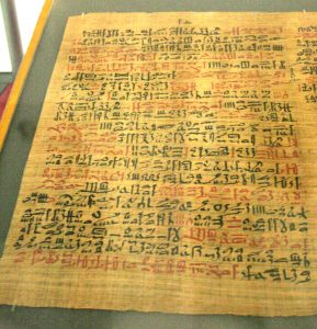 Papyrus Ebers. One of the best preserved medical documents from Ancient Egypt. Doctors were expected to follow these guidelines precisely.